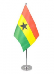 Ghana Desk / Table Flag with chrome stand and base.